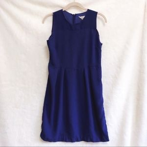 LOFT Blue Midi Sleeveless Cinched Waist Dress